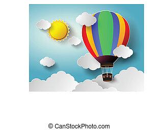 hot air balloon. - Vector illustration sunlight on cloud...