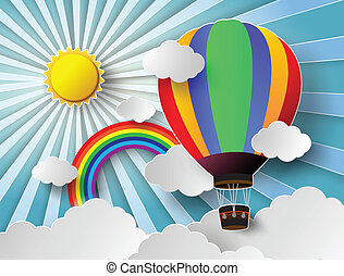 Vector illustration sunlight on cloud with hot air balloon.