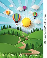 Vector illustration sunlight on cloud with hot air balloon. paper cut style.