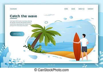 Vector illustration - surfing man on a beach.