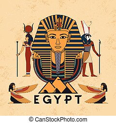 Vector illustration symbols of ancient Egypt Egyptian winged...