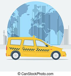 Vector illustration taxi car on town background