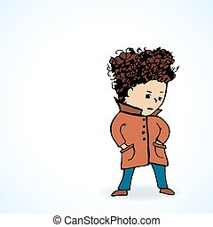 Vector illustration  teenager in a coat  oooo
