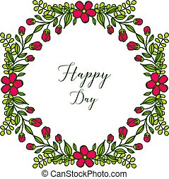 Vector illustration template happy day with green leafy flower frame