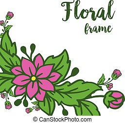 Vector illustration template with leaf floral frames blooms