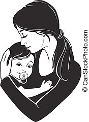 Tender hugs of mother and her child - Vector illustration. ...