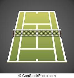 Vector illustration. Tennis court isometric.