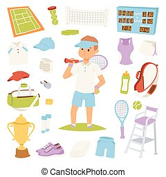 Vector illustration tennis player and game symbols