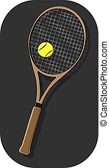 vector illustration tennis racket angled with a yellow ball in the foreground with shadows on a dark gray background