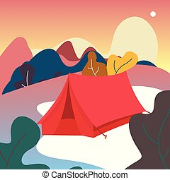 Vector illustration Tent of camping. view on mountains. Leaves. nature forest background