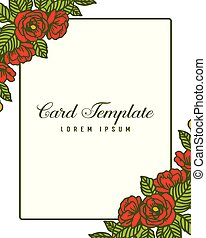Vector illustration texture of card template with red rose flower frame