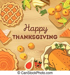 Vector illustration. Thanksgiving Day. Autumn harvest on a...