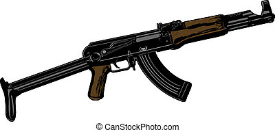 Vector illustration the automatic weapon