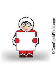 Vector illustration the boy in Christmas clothes a holding sheet of paper.