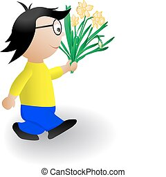 Vector illustration the boy with a bunch of flowers
