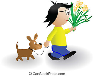 Vector illustration the boy with a dog and a bunch of flowers
