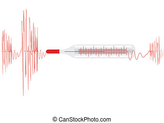 Vector illustration the cardiogramme with the medical thermometer on a white background