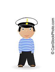 Vector illustration the cheerful seaman in a uniform.