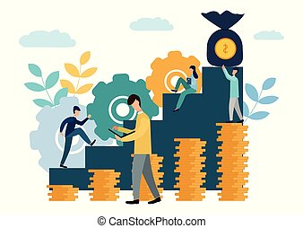 Vector illustration, the company is engaged in joint construction and the cultivation of cash profits, career growth to success, business analysis, flat style. New ideas.