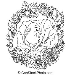 Vector illustration , the little rabbit sleep in the flowers. Doodle floral drawing. A meditative exercises. Coloring book anti stress for adults. Black white.