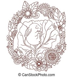 Vector illustration , the little rabbit sleep in the flowers. Doodle floral drawing. A meditative exercises. Coloring book anti stress for adults. Brown white.