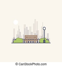 Vector illustration the park on a background of the city. Bench, street lamp in cartoon style