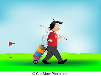Vector illustration the player of a golf with sticks