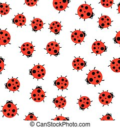 Vector illustration. The Seamless pattern. Red ladybug