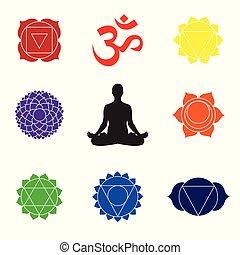 Practicing yoga. Yoga lotus pose, women wellness concept. Chakra symbols