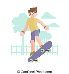 The skater. Flat style.