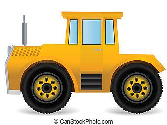 Vector illustration the yellow traktor.