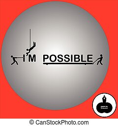 Vector illustration three men change the word impossible to I'm possible