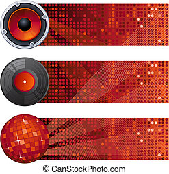 music banners - Vector illustration - three red music...