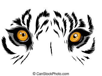vector illustration Tiger Eyes Mascot Graphic in white background