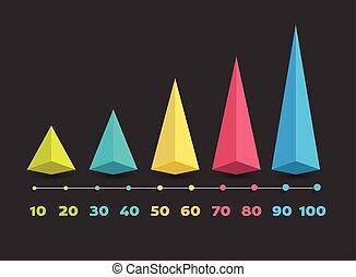 vector, illustration., tijdsverloop, lijn., infographic, horizontaal, template.