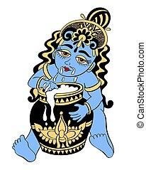 vector illustration to indian celebration janmashtami,...