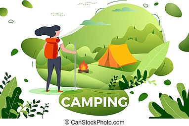 Vector illustration - tourist girl, camp, bonfire