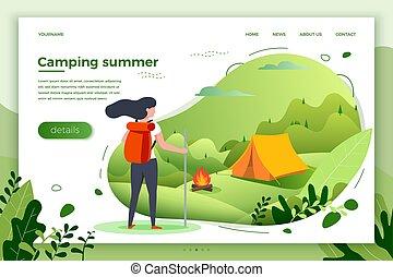 Vector illustration -  tourist girl look on camp