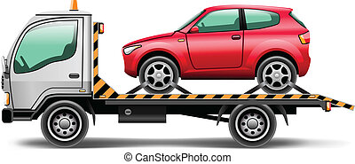 vector illustration tow truck loaded up the car