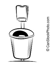 Trash can - Vector illustration : Trash can on a white ...