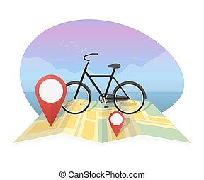 Vector illustration traveler with bicycle on map background