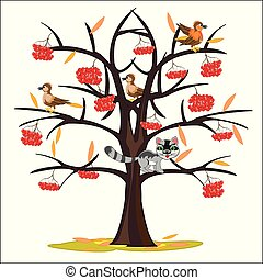 Vector illustration tree rowanberry by late autumn - Tree of...