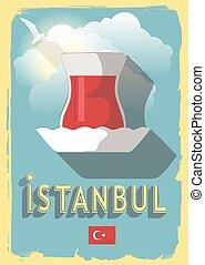 vector illustration turkish tea on retro style poster or postcard