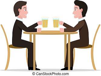 Vector illustration two cartoon men drinking beer