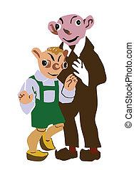 vector illustration two goblins on white background