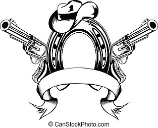 horse shoe and cowboy's hat - Vector illustration two ...