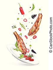 ?????? - Vector illustration two steaks with hot peppers on ...