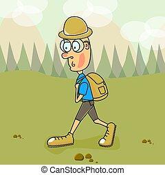 vector, illustration., un, turista, en, montañas, y, valle