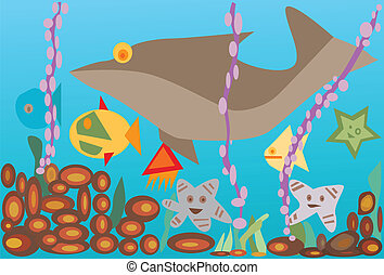Vector illustration undersea with fishes