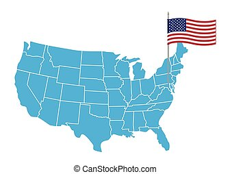 USA map. States and territories of United States of America. Washington city marked with U.S.A flag